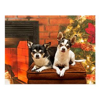 クリスマスのチワワ ポストカード