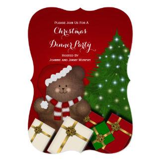 クリスマスのテディー・ベアのパーティの招待状 カード