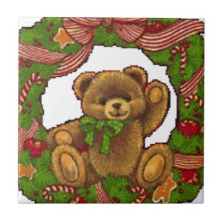 クリスマスのテディー・ベアのリース タイル