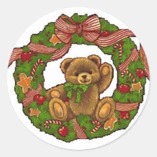 クリスマスのテディー・ベアのリース ラウンドシール