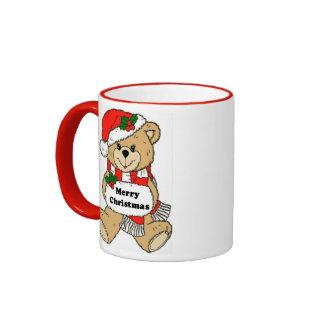 クリスマスのテディー・ベアメッセージ リンガーマグカップ