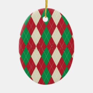 クリスマスのテーマのアーガイル柄のなパターンガーリーなトレンディー セラミックオーナメント