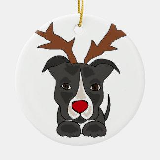 クリスマスのトナカイとしておもしろいな灰色のピットブル犬 セラミックオーナメント