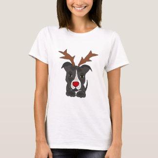 クリスマスのトナカイとしておもしろいな灰色のピットブル犬 Tシャツ