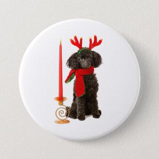 クリスマスのトナカイとして服を着る黒いトイプードル犬 7.6CM 丸型バッジ