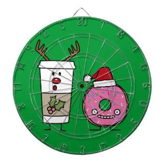 クリスマスのトナカイのコーヒーおよびサンタドーナツ ダーツボード