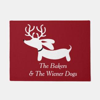 クリスマスのトナカイのダックスフントのウインナー犬の玄関マット ドアマット
