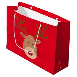 クリスマスのトナカイの光沢のあるギフトバッグ ラージペーパーバッグ
