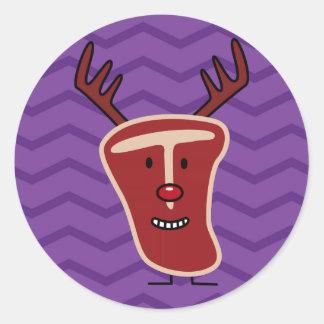クリスマスのトナカイのT骨のステーキ ラウンドシール