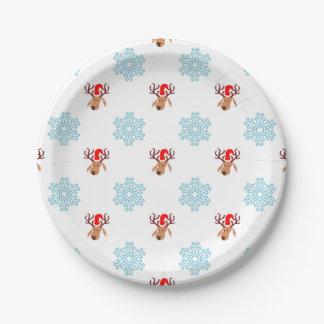 クリスマスのトナカイパターン ペーパープレート