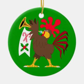 クリスマスのトランペットを吹くオンドリ セラミックオーナメント