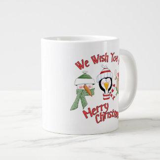 クリスマスのトリオ動物の願い ジャンボコーヒーマグカップ