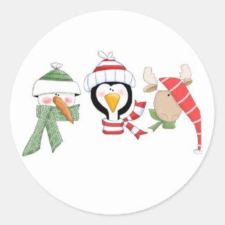 クリスマスのトリオ動物 ラウンドシール