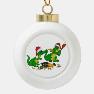 クリスマスのドラゴン-今日私は調理します セラミックボールオーナメント