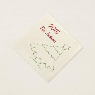 クリスマスのナプキンはあなた自身の文字を加えます スタンダードカクテルナプキン