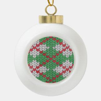 クリスマスのニットのアーガイル柄のな陶磁器の球のオーナメント セラミックボールオーナメント