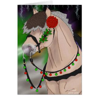 クリスマスのノルウェーのフィヨルドの馬 カード
