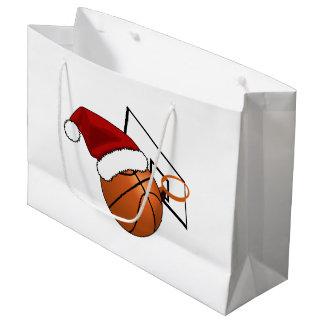 クリスマスのバスケットボールおよびたが ラージペーパーバッグ