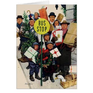 クリスマスのバス停 カード