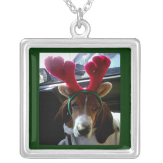 クリスマスのバセットハウンドのトナカイのネックレス シルバープレートネックレス