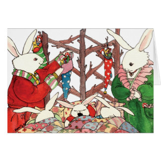 クリスマスのバニー家族 グリーティングカード