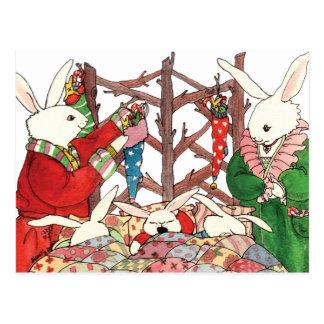 クリスマスのバニー家族 ポストカード