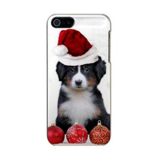 クリスマスのバーニーズ・マウンテン・ドッグのiphone 5の場合 メタリックiPhone SE/5/5sケース