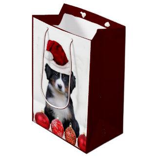 クリスマスのバーニーズ・マウンテン・ドッグ媒体のギフトバッグ ミディアムペーパーバッグ