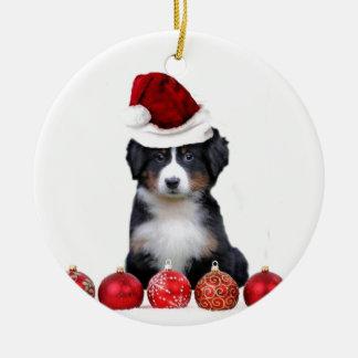 クリスマスのバーニーズ・マウンテン・ドッグ セラミックオーナメント