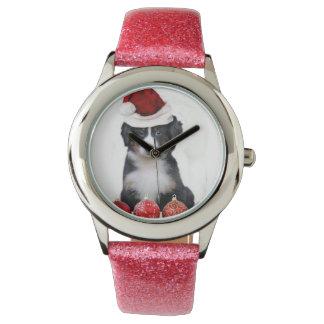 クリスマスのバーニーズ・マウンテン・ドッグ 腕時計