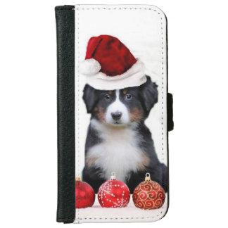 クリスマスのバーニーズ・マウンテン・ドッグ iPhone 6/6S ウォレットケース
