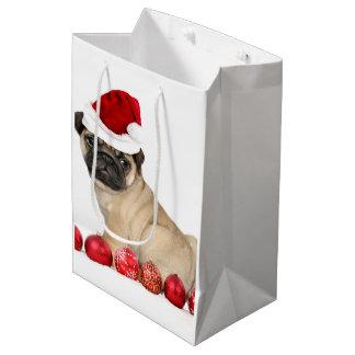 クリスマスのパグの子犬のギフトバッグ ミディアムペーパーバッグ