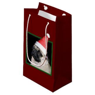 クリスマスのパグ犬のギフトバッグ スモールペーパーバッグ