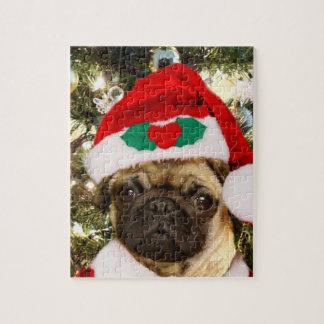 クリスマスのパグ犬 ジグソーパズル