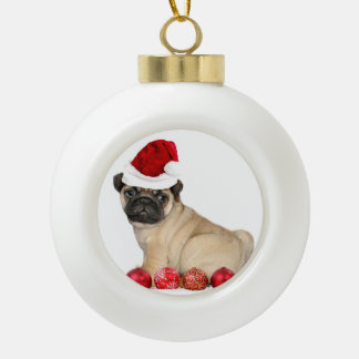 クリスマスのパグ犬 セラミックボールオーナメント
