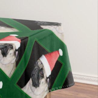 クリスマスのパグ犬 テーブルクロス