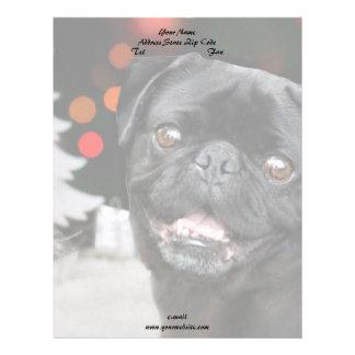 クリスマスのパグ犬 レターヘッド