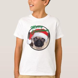 クリスマスのパグ-子供の基本的なHanesのTシャツ Tシャツ