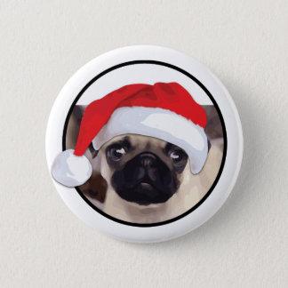 クリスマスのパグ-標準、2つの¼のインチの円形ボタン 5.7CM 丸型バッジ