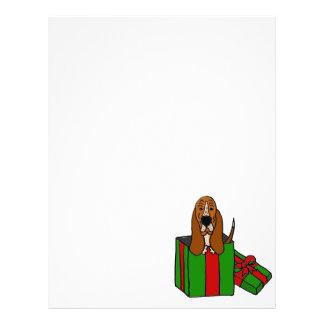 クリスマスのパッケージのおもしろいなバセットハウンド犬 レターヘッド