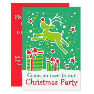 クリスマスのパーティの招待状のトナカイの緑の赤 カード