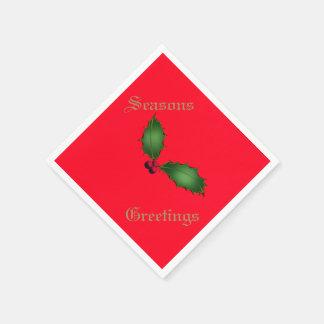 クリスマスのヒイラギのテーブルナプキン スタンダードカクテルナプキン