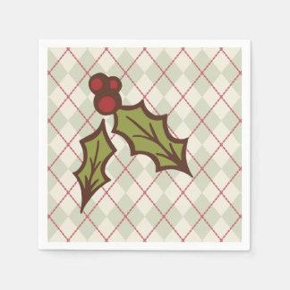 クリスマスのヒイラギのナプキン スタンダードカクテルナプキン