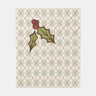 クリスマスのヒイラギのフリース毛布 フリースブランケット