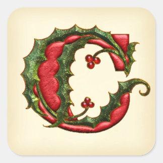 クリスマスのヒイラギのモノグラムCの封筒用シール スクエアシール