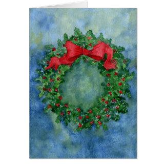 クリスマスのヒイラギのリース カード