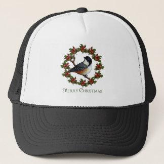 クリスマスのヒイラギのリース、《鳥》アメリカゴガラ: 元の芸術 キャップ