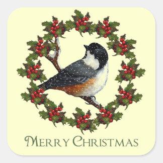 クリスマスのヒイラギのリース、《鳥》アメリカゴガラ: 元の芸術 スクエアシール