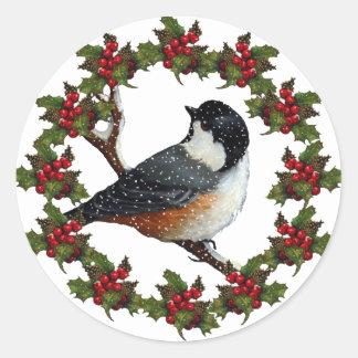 クリスマスのヒイラギのリース、《鳥》アメリカゴガラ: 元の芸術 ラウンドシール
