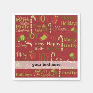 クリスマスのヒイラギの喜びのメリーなパターン スタンダードカクテルナプキン